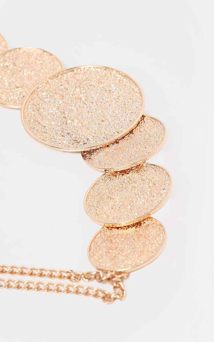 Gold Textured Multi Disc Necklace 3