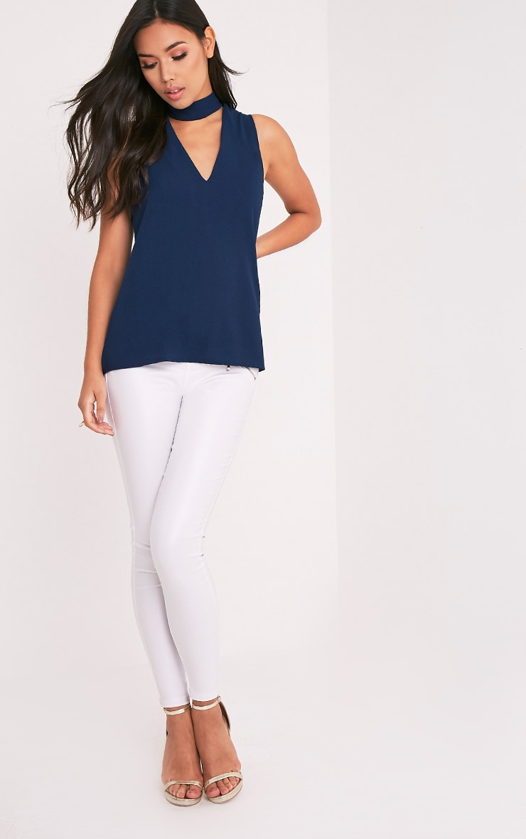 Karen Navy Cut Out Neck Shift Top 4