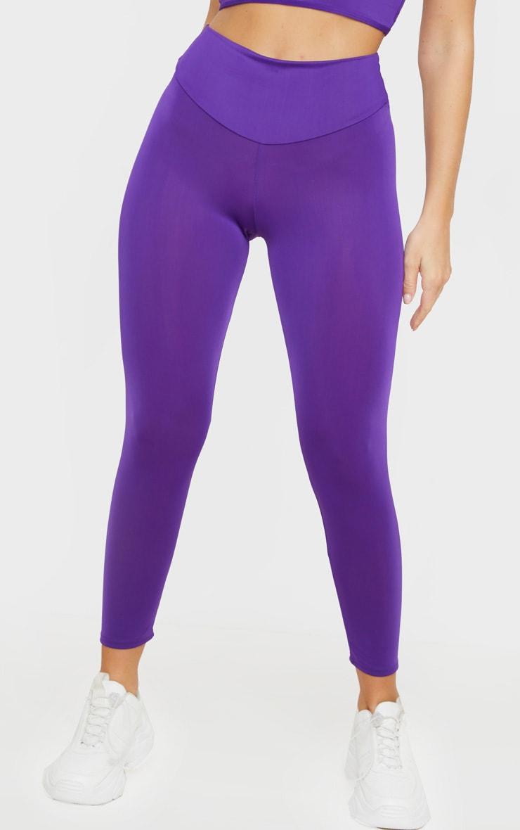 PRETTYLITTLETHING Purple High Waisted Gym Legging 2