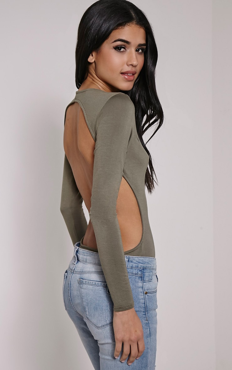 Basic Khaki Backless Jersey Bodysuit 1