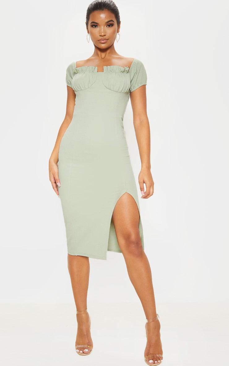 Sage Khaki Ruched Bust Cup Detail Midi Dress 1
