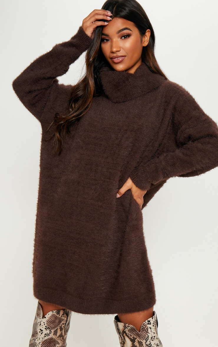 Brown Knitted High Neck Jumper Dress 4