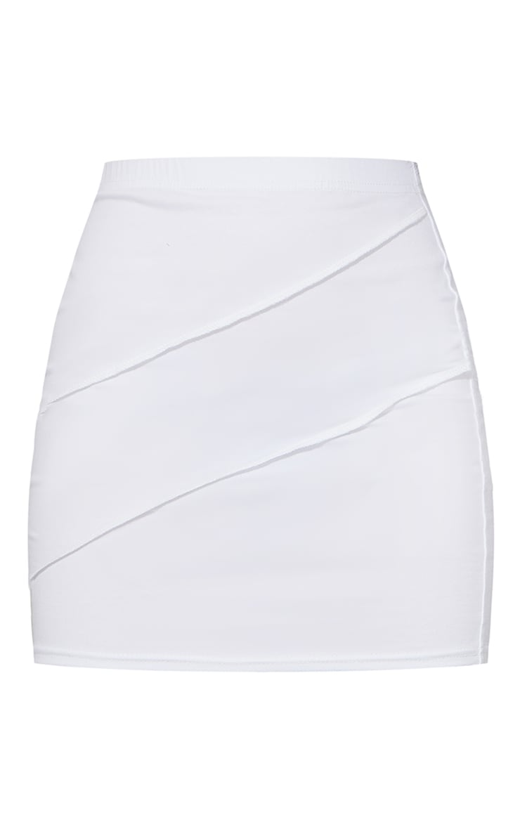 White Exposed Seam Cotton Mini Skirt 6