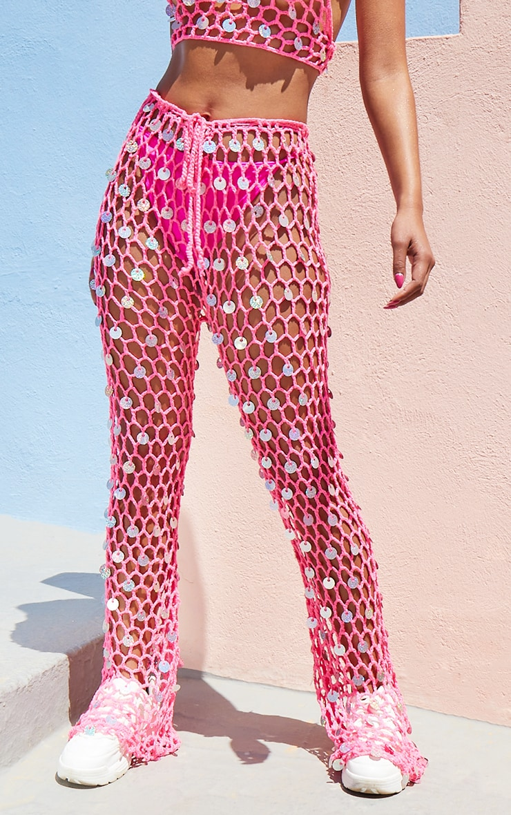 Hot Pink Knitted Holo Sequin Flare & Top Set 3