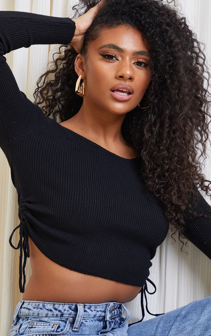 Black Tie Side Knitted Long Sleeve Cropped Top 4
