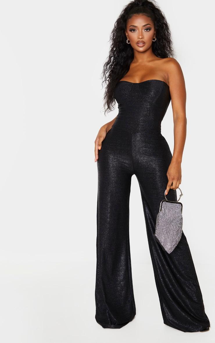 Shape Black Glitter Wide Leg Cup Detail Jumpsuit 1