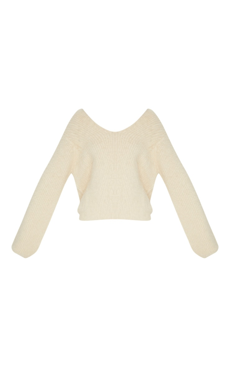 Cream Eyelash Knitted Sweater 3