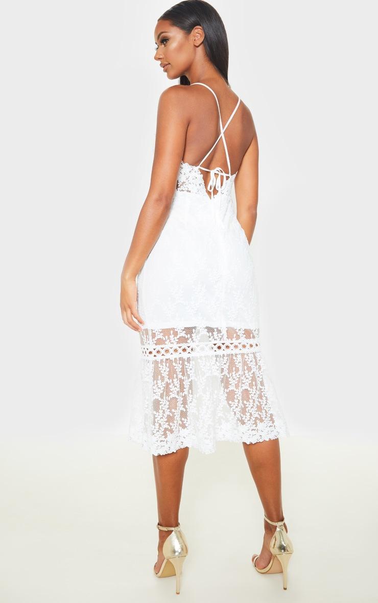 White Lace Cross Back Midi Dress 2