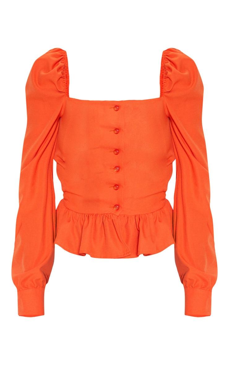 Petite - Chemisier court orange à volants avec manches bouffantes et encolure carrée 3