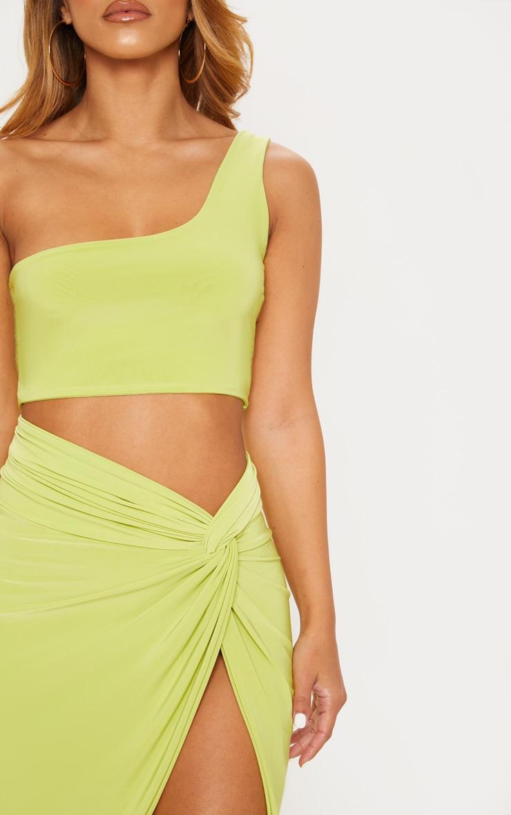 Petite Lime Asymmetric Crop Top 5