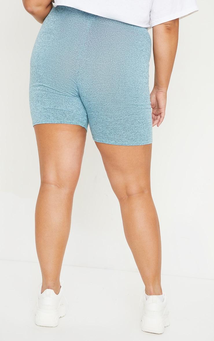 Plus Light Blue Brushed Marl Bike Shorts 3
