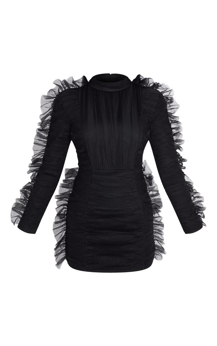 Black Bandage Chiffon Frill Bodycon Dress 3