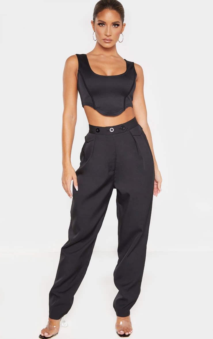 Black Tapered Button Front Pants 1