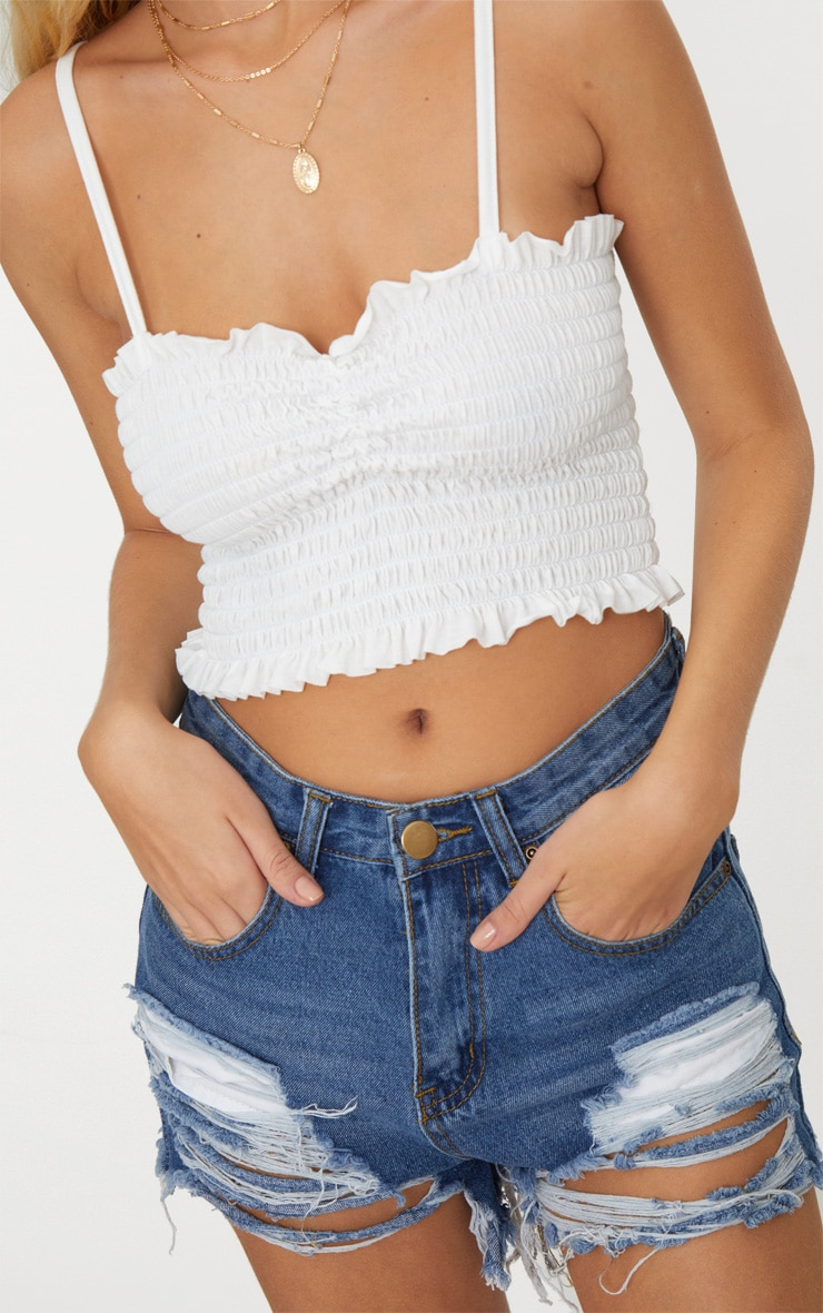 White Shirred Strappy Crop Top 5