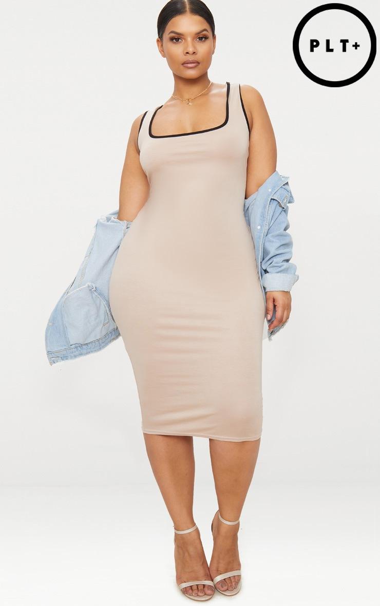 Plus Stone Contrast Square Neck Midi Dress 1