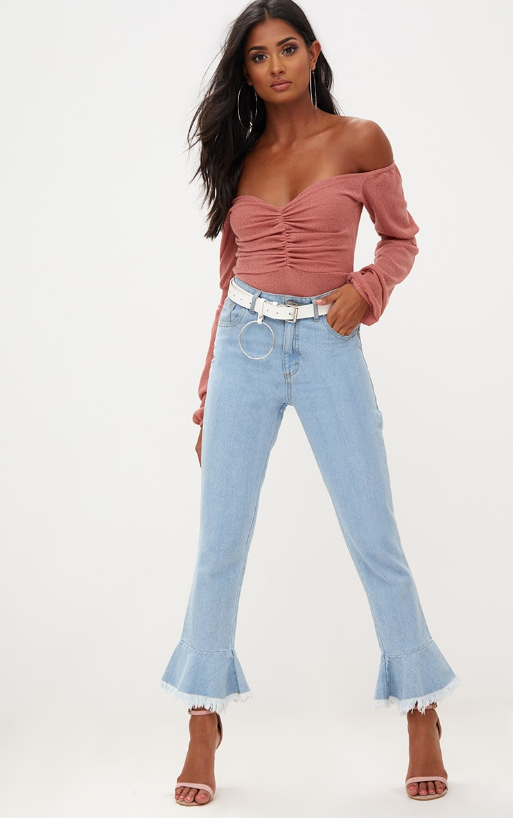 Rose Bardot Ruched Balloon Sleeve Thong Bodysuit 5
