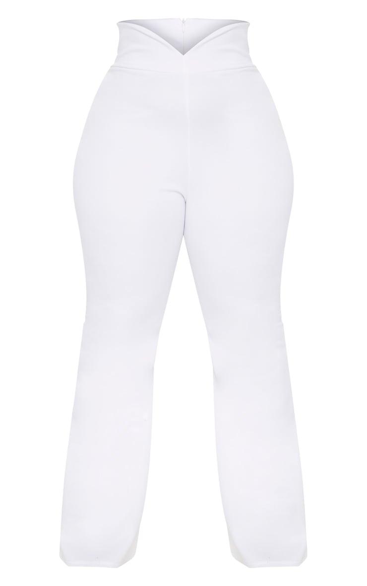 Plus White Scuba Curve Waist Band Detail Flared Pants  3