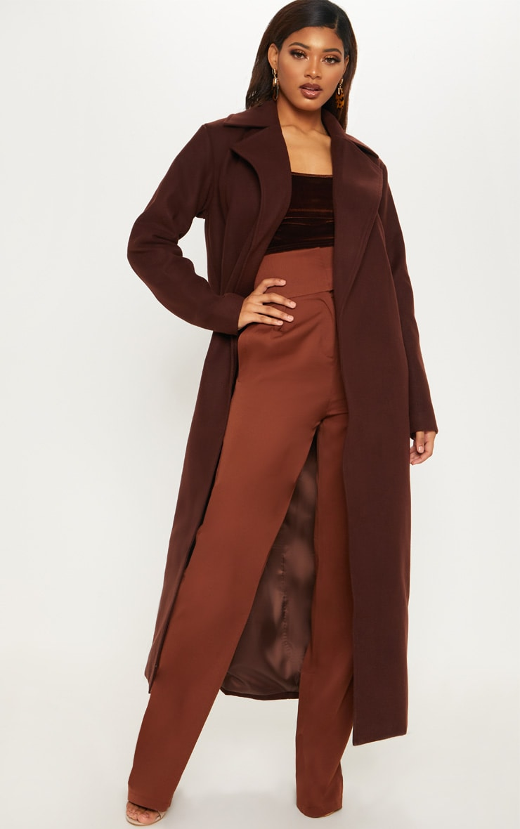 Tall Chocolate Brown Belted Coat  4