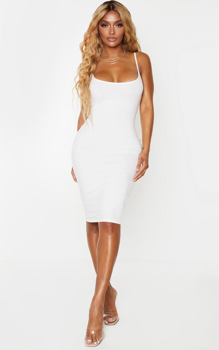 Shape Cream Cotton Strappy Midi Dress 1