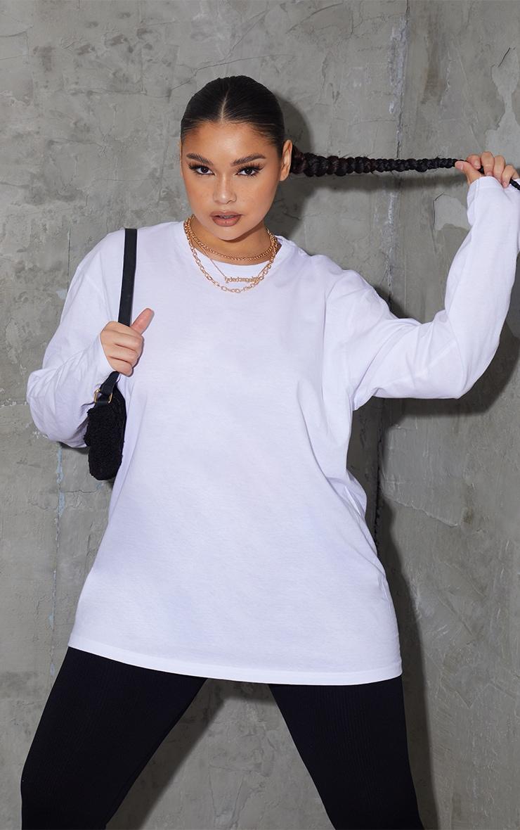 Plus White Long Sleeve Oversized Boyfriend T Shirt 1