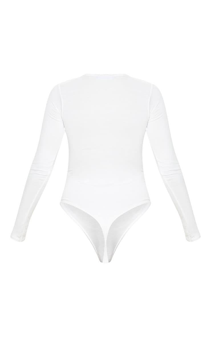 Basic Cream Crew Neck Long Sleeve Bodysuit 4