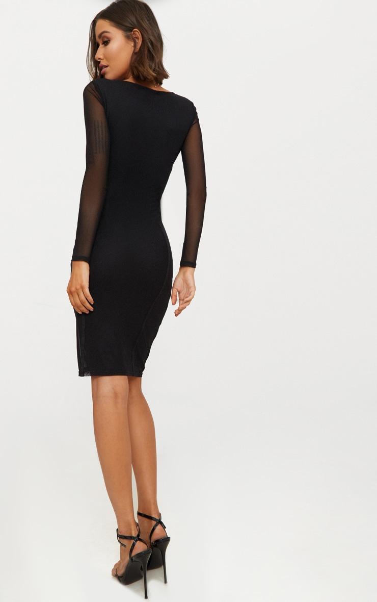 Black Mesh Square Neck Panelled Midi Dress 2