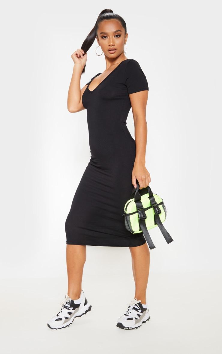 Petite Black V Neck Midi Bodycon Dress 3