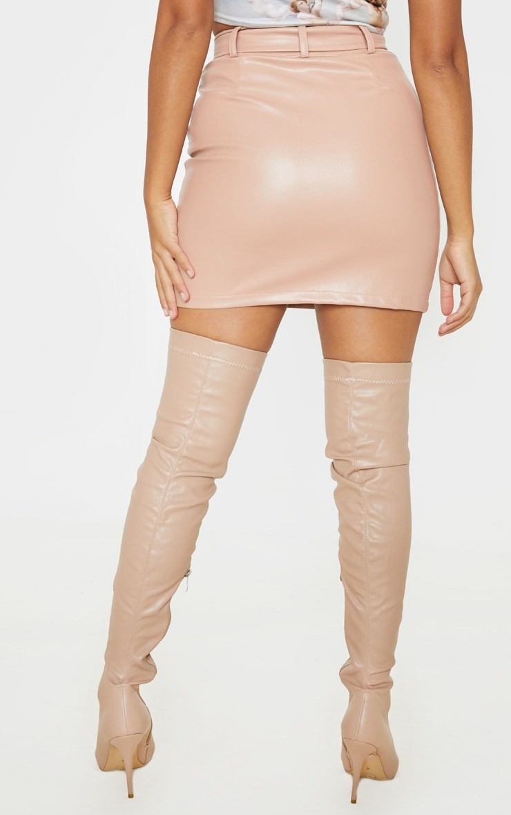 Petite Taupe Faux Leather Biker Belted Mini Skirt 4