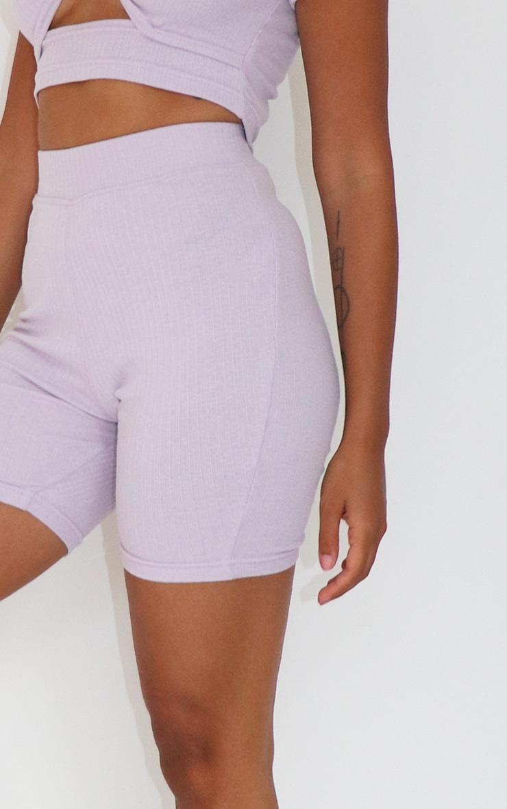 Petite Lilac Ribbed Bike Shorts 5