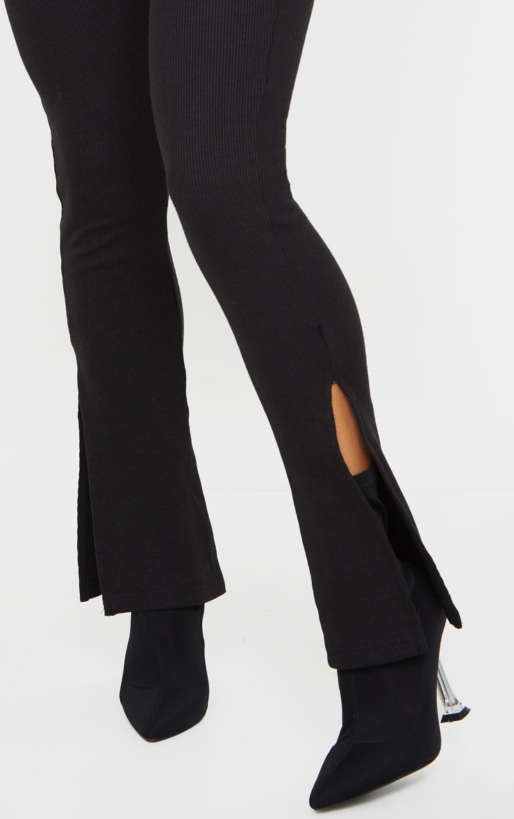 Black High Waisted Textured Rib Split Hem Pants 4