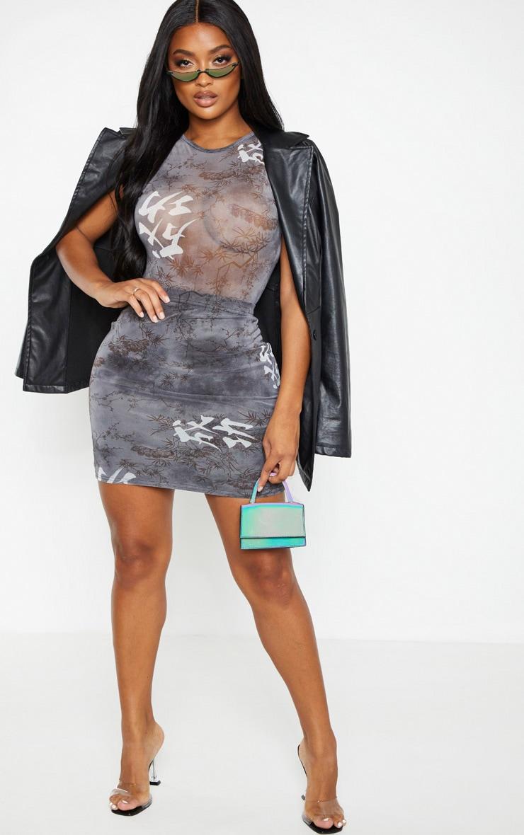 Shape - Body noir transparent à imprimé style asiatique 4