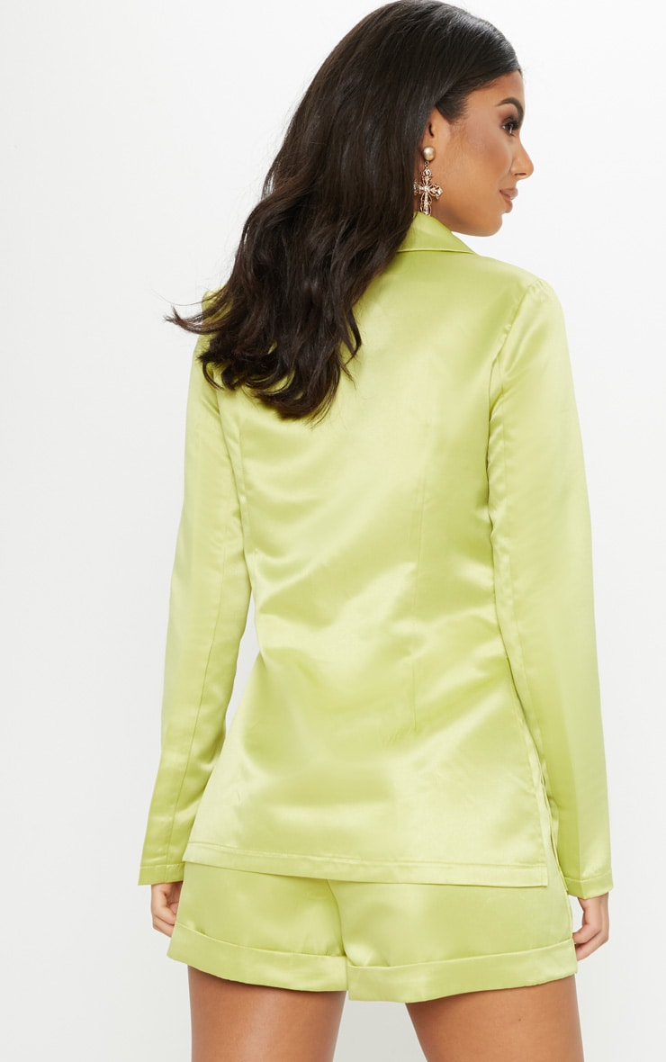 Lime Double Breasted Satin Jacket 2