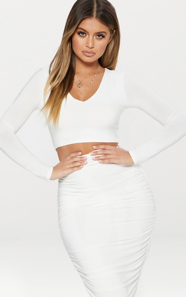 White Second Skin Long Sleeve V Neck Crop Top