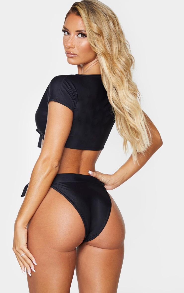 Black Bow Front T Shirt Bikini Top 2
