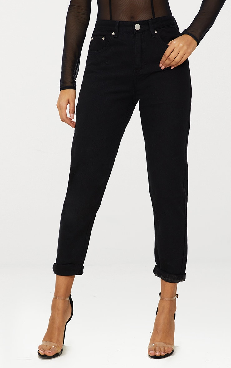 PRETTYLITTLETHING Black Embroidered Bum Mom Jean 2