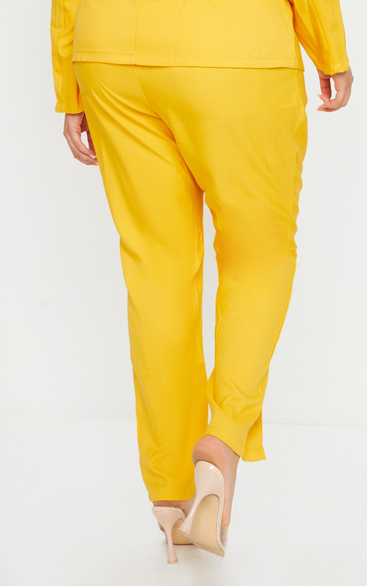 Plus Chartreuse Woven Split Front Pants 3