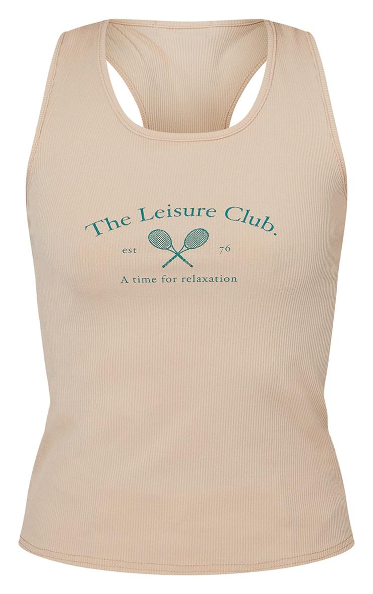 Sand Rib Leisure Club Print Racer Back Vest Top 5
