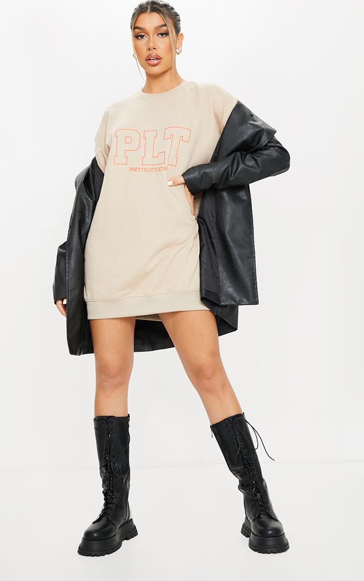 PRETTYLITTLETHING Stone Slogan Contrast Panel Detail Sweater Dress 3