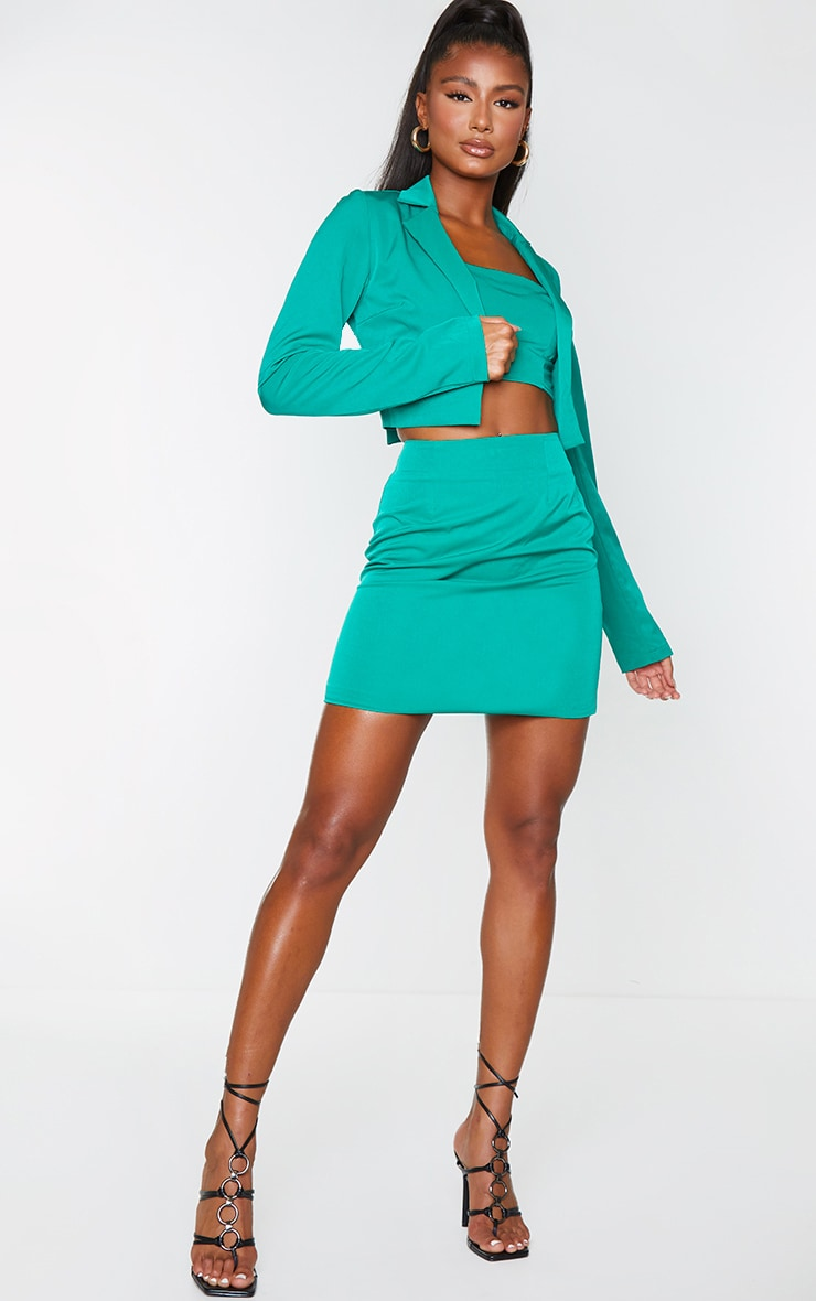 Emerald Green Woven Mini Skirt