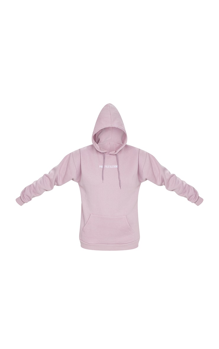 PRETTYLITTLETHING Lilac Embroidered Slogan Hoodie 5