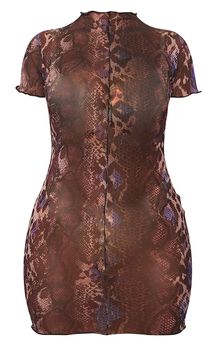 Shape Brown Snake Print Sheer Mesh Seam Detail Bodycon Dress 5