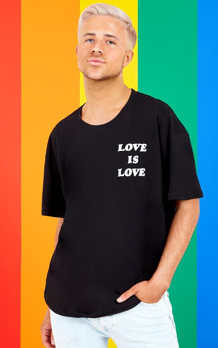UNISEX Black LOVE IS LOVE Oversized T-shirt  2