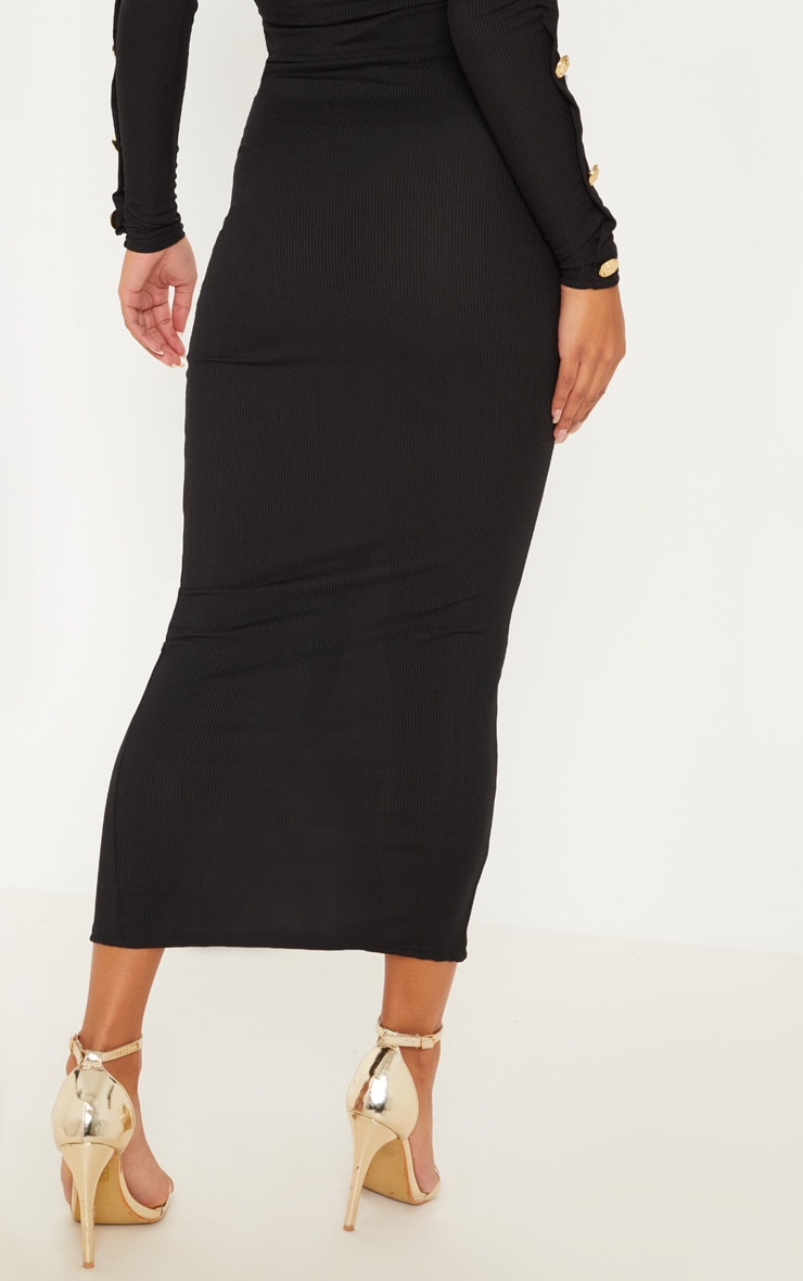Black Rib Bardot Button Detail Crop Top & Midaxi Skirt Set 4