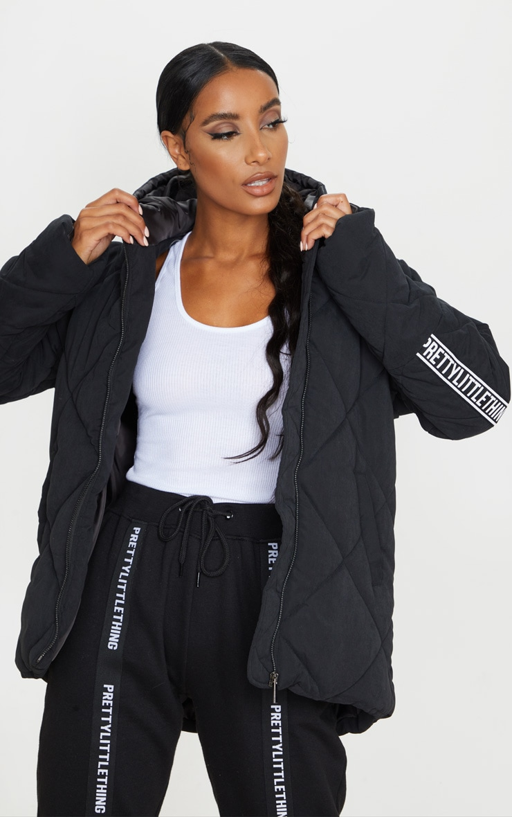 PRETTYLITTLETHING Black Peach Skin Diamond Quilted Oversized Puffer 2