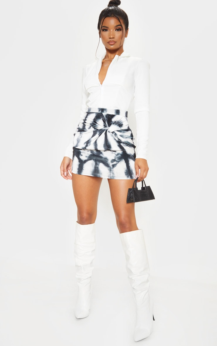 Black Velvet Tie Dye Twist Front Mini Skirt 1