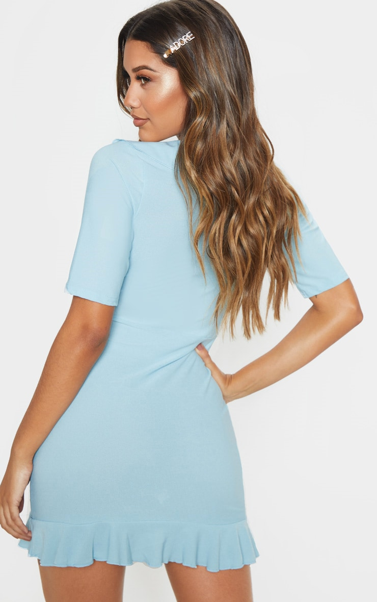 Baby Blue Frill Detail Wrap Dress   Dresses ...