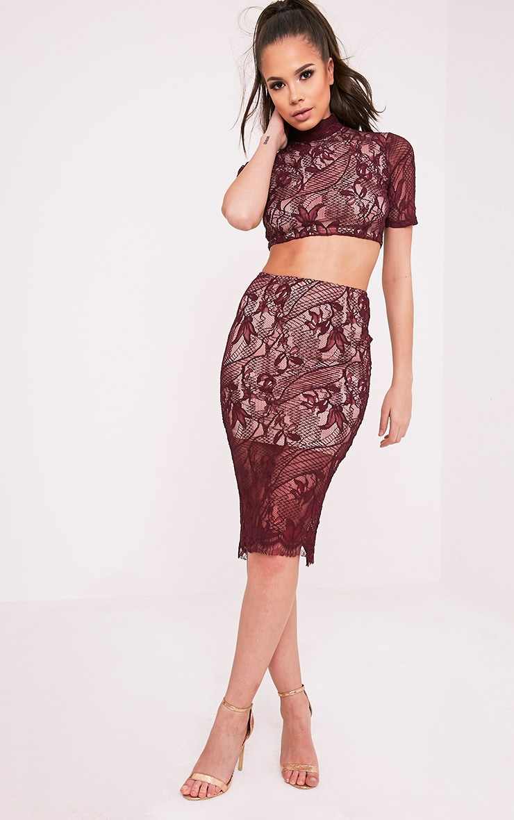 Leela Burgundy Lace Midi Skirt 1