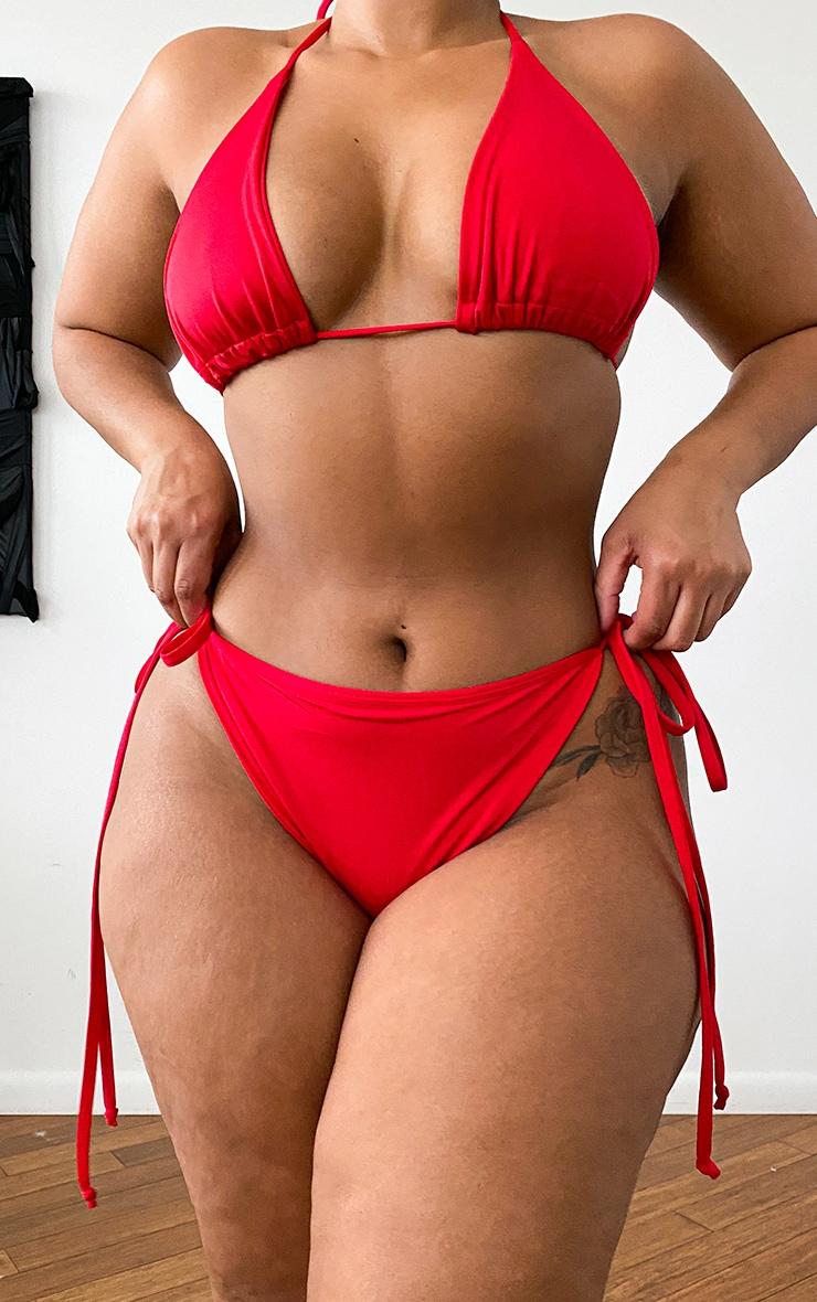 Plus Red Mix & Match Adjustable Tie Side Bikini Bottom