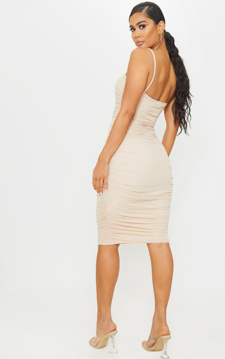 Nude Strappy Mesh Midi Dress 2