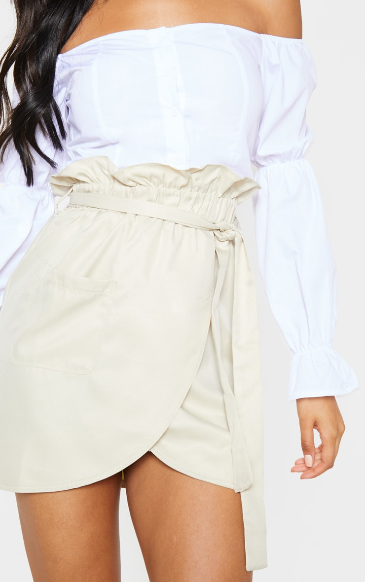 Stone Pocket Detail Tie Waist Mini Skirt 6